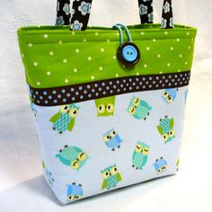 Kids Bag Cute Blue OWLS Little Girls Purse Mini Tote Bag Small Childs Handbag Lime Green Aqua Handmade. $20.00 USD, via Etsy.