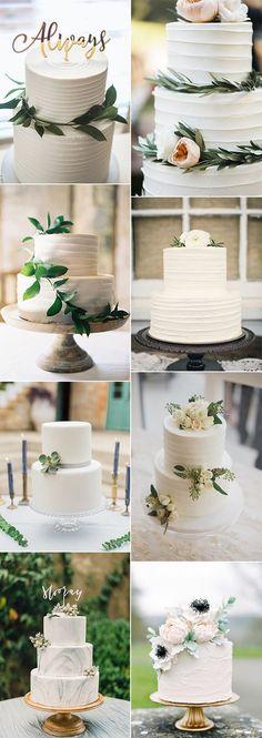 simple elegant greenery wedding cake