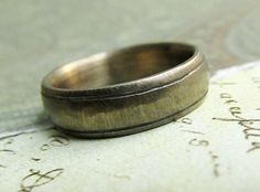 Rustic Gold Band , 14k Gold Men's Wedding Ring, Comfort Fit, Engraved, Stamped, Oxidized Antique Patina... 6 x 2mm