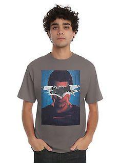 DC Comics Batman V Superman: Dawn Of Justice Superman Poster T-Shirt, NAVY