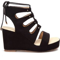 Yoins Black Suede Lace-up Design Wedge Sandals ($47) ❤ liked on Polyvore featuring shoes, sandals, laced sandals, black sandals, black laced shoes, black wedge shoes and wedge shoes