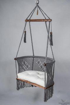 Macrame Hanging Chair in Grey. - Macrame Hanging Chair in Grey. - Leah Gessel Macrame Hanging Chair in Grey. Hanging Chair in Macrame in Grey - Macrame Hanging Chair, Macrame Chairs, Diy Hanging, Hanging Chairs, Hanging Beds, Hanging Decorations, Outdoor Hanging Chair, Macrame Projects, Diy Projects