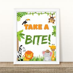 Printable Food Station Birthday Table Sign, Food Table Birthday Sign, Take a bite Jungle Safari Birthday Sign, Party Sign INSTANT DOWNLOAD