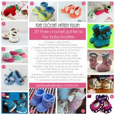 20 Free Patterns for Crochet Baby Booties @OombawkaDesign