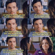 Pretty Little Liars Season 7 Pretty Little Liars Aria, Pretty Little Liars Seasons, Ezra And Aria, Pll Quotes, Ezra Fitz, Ian Harding, Vampire Academy, Lucy Hale, Favim
