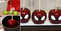Use apples to make this delicious Spiderman dessert!