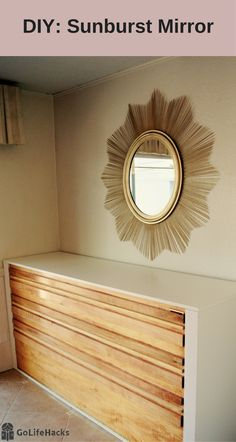 #Sunburst Mirror from skewers and gold paint