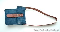 Make a stylish jean purse or bag by upcycling an old pair of jeans and an old belt. A great way to repurpose old jeans, and you can personalize for a gift.