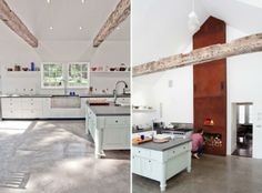 vintage and modern kitchen with wood burning fireplace A Floating Farmhouse in Upstate New York : Remodelista