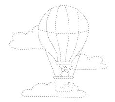 hotair balloon trace line worksheet      Crafts and Worksheets for Preschool,Toddler and Kindergarten
