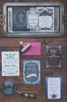 Gothic Wedding Invitations by Royal Steamline   Photo: Hazelwood Photo