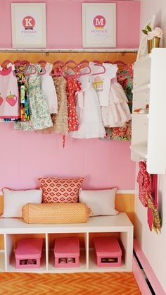 Exposed Closet - looks great and saves room in a small space! #modernnursery #summerinthecity
