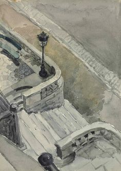 Maria Yakunchikova (Russian, 1870-1902), A staircase. Watercolour on paper, 22.2 x 15.5 cm.