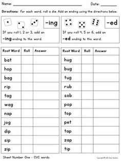 Adding ing and ed endings - Inflectional endings game modify for the spelling words in Wk 1 First Grade Phonics, 2nd Grade Ela, 2nd Grade Reading, Second Grade, Phonics Words, Spelling Words, Cvc Words, Word Work Activities, Spelling Activities