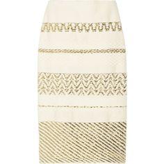 Suno Metallic cotton-blend pencil skirt (5.380 NOK) ❤ liked on Polyvore