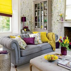 Yellow, grey and purple. Maybe add the yellow to the bedroom?? so cheerful!