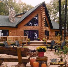 Log Home By, Golden Eagle Log Homes - Fire Pit & Rear Of Home - Custom Eagle Prow 5