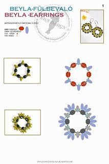 Ewa gyöngyös világa!: Beyla fülbevaló minta / Beyla earrings pattern