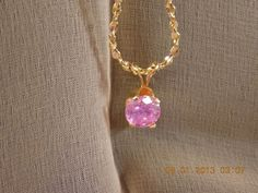 Necklace Pink ice set in  gold filled and American by Itemsofcolor