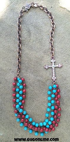 AB Stones on Copper Cross on Red and Turquoise Bead Necklace $34.95 www.gugonline.com