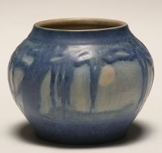 """Newcomb College art pottery vase in the """"Moon and Moss"""" design by Sadie Irvine, 1931."""