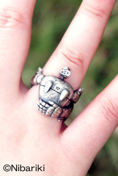 silver ring with the robot from Laputa: Castle in the Sky