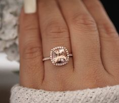 Inspired by the beauty found in Mother Nature, this unique handmade rose gold morganite engagement ring will capture her heart from the moment she beholds it. Featuring a band adorned with gorgeous leaf accents, it holds a morganite center stone to finish Morganite Engagement, Rose Gold Engagement Ring, Diamond Wedding Bands, Tiffany Engagement, Oval Engagement, Wedding Rings Rose Gold, Wedding Engagement, Art Deco Jewelry, Fine Jewelry