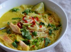 Warm your body and soothe your spirit with a steaming bowl of soup or stew. From Thai Chicken and Rice Noodle Soup to Pasta e Fagioli, these recipes will. Chicken Rice Noodles, Rice Noodle Soups, Thai Rice Noodles, Asian Recipes, Healthy Recipes, Chef Recipes, Recipies, Healthy Soups, Asian Desserts