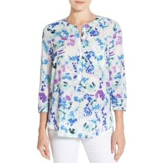 Petite NYDJ Henley Blouse (93 AUD) ❤ liked on Polyvore featuring tops, blouses, petite, water front lillies blue, petite blouses, pintuck blouse, petite tops, pleated top and blue blouse