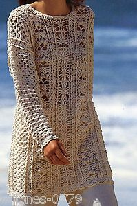 CROCHET PATTERN LADIES LONGLINE TUNIC SWEATER PANELED PATTERN BUST 30 - 44"