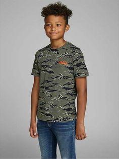 Jack & Jones Junior Boys Bergprint T-Shirt kaufen Jack Jones, Tshirts Online, Printer, Boys, Model, Mens Tops, Cotton, How To Wear, T Shirt