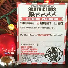 Naughty & Nice, Warning and Reward Christmas Elf Card -  Instant Printable Card