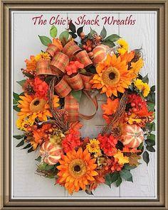 Happy Fall Y'all, Large Fall Wreath, Sunflower Wreath, Pumpkin Wreath, Designer Wreath, Golds, greens and Orange Wreath, Fall Decor by TheChicyShackWreaths on Etsy