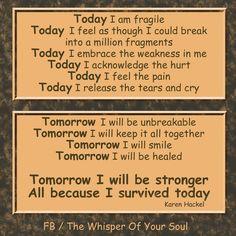 (Maybe) Tomorrow I'll be stronger (I keep hoping anyway)