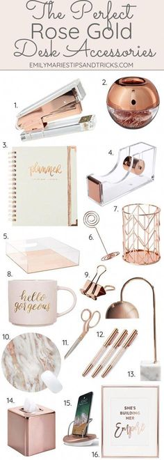 The Perfect Rose Gold Desk Accessories, Home Accessories, Click this pin to see how to style your desk with rose gold accessories! Gold Desk Accessories, Home Decor Accessories, Decorative Accessories, Desk Accesories, Bathroom Accessories, Rose Gold Rooms, Rose Gold Decor, Rose Gold Gifts, Gold Home Decor