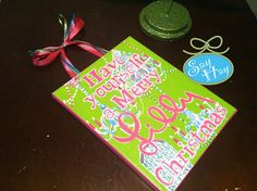 """Have Yourself a Merry Lilly Christmas 8x10"""" canvas painting with chandelier swingers print. $20.00, via Etsy."""