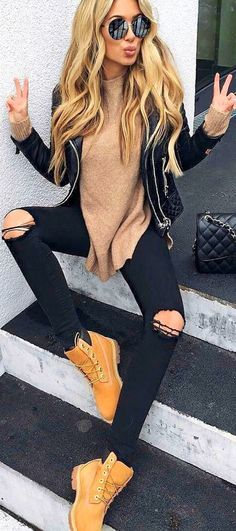 #summer #outfits Black Leather Jacket + Beige Knit + Black Ripped Skinny Jeans
