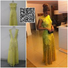 REAL vestido de renda amarelo 2014 Elegant Yellow Lace Backless Floor Length Special Occasion Dress For Evening Prom Party Long $169.99