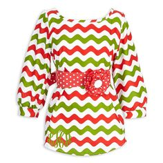 Ladies Red Green Wave Sash Top – Lolly Wolly Doodle