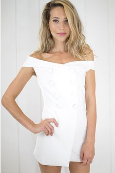 The Noah Double Breasted Romper in White