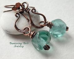 Sea Green Recycled Glass Dangle Earrings with Antiqued Copper Metalwork Curls on Rustic Boho Summer Jewelry