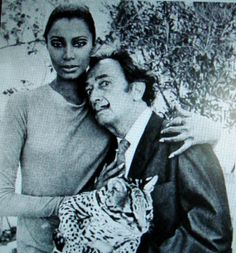 Donyale Luna & Salvador Dali and one of Dali's ocelots.