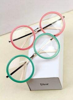 Dior pink and green eyeglass frames