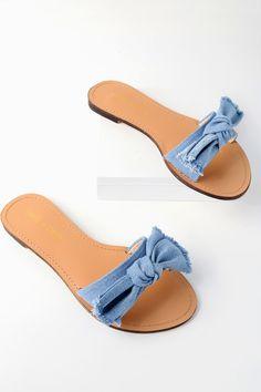 648cdb2596ef7e Glynn Blue Denim Knotted Slide Sandals