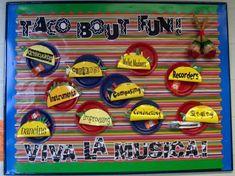 - Festive Back-to-School Bulletin Board Taco' Bout Fun! - Festive Back-to Bulletin Board Paper, Bulletin Board Borders, Back To School Bulletin Boards, Classroom Bulletin Boards, Music Classroom, Classroom Decor, Bilingual Classroom, Spanish Classroom, Future Classroom