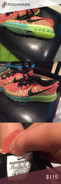 Nike flyknit airmax Turquoise green yellow orange men's 81/2 womens 91/2 brand new Nike Shoes Athletic Shoes