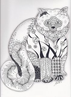 The Pussy Cat Abstract Doodle Zentangle ZenDoodle Paisley Coloring Pages Colouring Adult Detailed Advanced Printable Kleuren