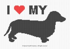 Tunisian Crochet Stitches, Thread Crochet, Crochet Afghans, Beading Projects, Counted Cross Stitch Patterns, Crochet Animals, Single Crochet, Dachshund, Dog Lovers