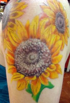 sunflower shoulder tattoo