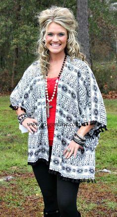 Seems Like Forever Black and White Tribal Kimono www.gugonline.com $34.95